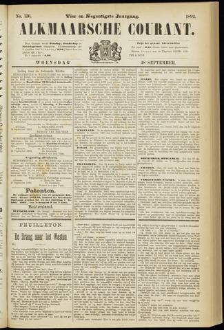 Alkmaarsche Courant 1892-09-28