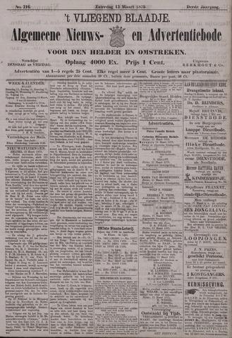 Vliegend blaadje : nieuws- en advertentiebode voor Den Helder 1875-03-13