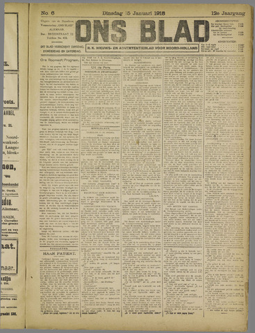 Ons Blad : katholiek nieuwsblad voor N-H 1918-01-15