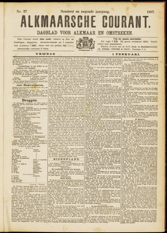 Alkmaarsche Courant 1907-02-01