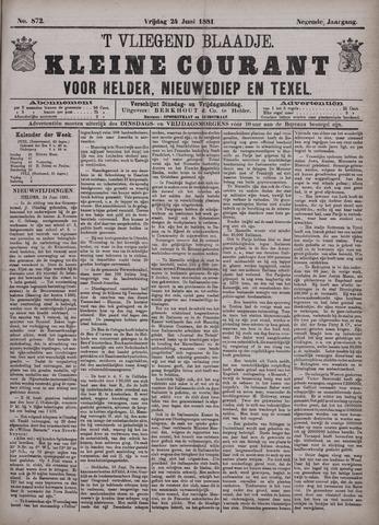 Vliegend blaadje : nieuws- en advertentiebode voor Den Helder 1881-06-24
