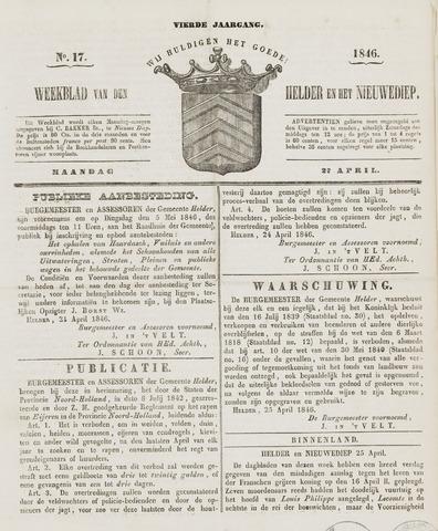 Weekblad van Den Helder en het Nieuwediep 1846-04-27