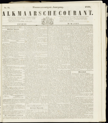 Alkmaarsche Courant 1870-03-20