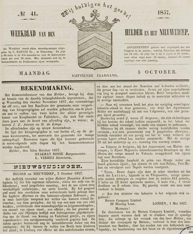 Weekblad van Den Helder en het Nieuwediep 1857-10-05