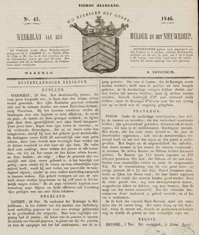 Weekblad van Den Helder en het Nieuwediep 1846-11-09