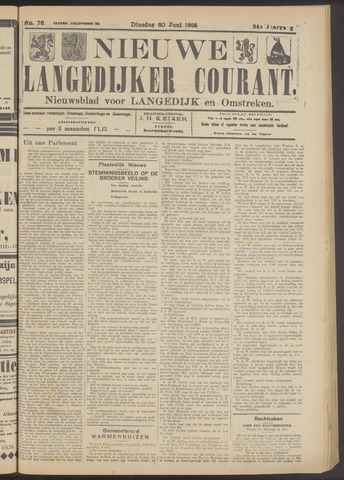 Nieuwe Langedijker Courant 1925-06-30