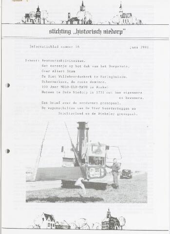 Informatieblad stichting Historisch Niedorp 1991