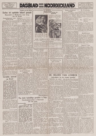 Dagblad Noord-Holland, Schager editie 1944-08-29