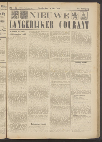 Nieuwe Langedijker Courant 1926-07-08