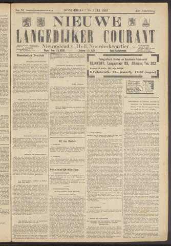 Nieuwe Langedijker Courant 1933-07-20