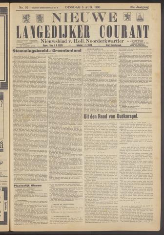 Nieuwe Langedijker Courant 1930-08-05