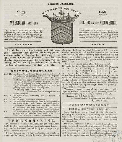 Weekblad van Den Helder en het Nieuwediep 1850-07-08