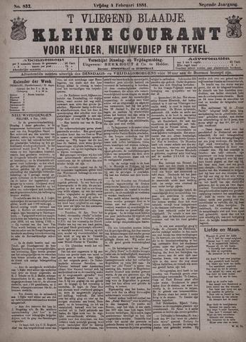 Vliegend blaadje : nieuws- en advertentiebode voor Den Helder 1881-02-04