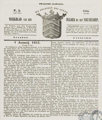 Weekblad van Den Helder en het Nieuwediep 1854-01-09