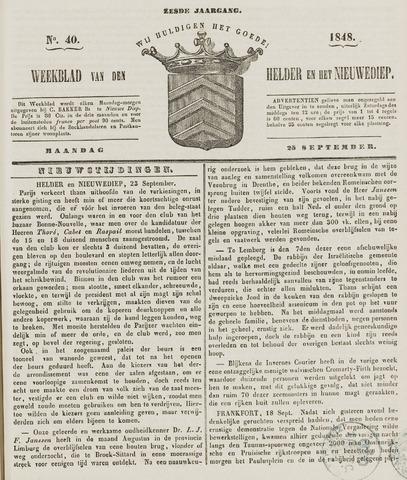 Weekblad van Den Helder en het Nieuwediep 1848-09-25