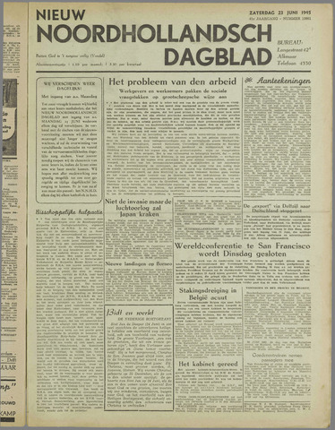 Nieuw Noordhollandsch Dagblad : voor Alkmaar en omgeving 1945-06-23
