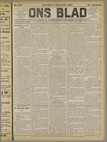 Ons Blad : katholiek nieuwsblad voor N-H 1917-09-08