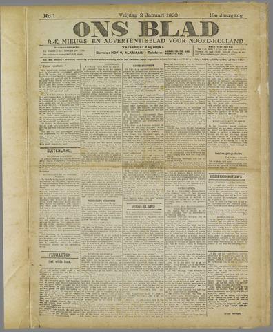 Ons Blad : katholiek nieuwsblad voor N-H 1920-01-02