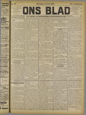 Ons Blad : katholiek nieuwsblad voor N-H 1916-07-04
