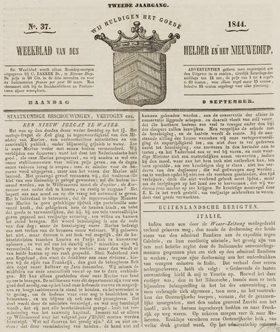 Weekblad van Den Helder en het Nieuwediep 1844-09-09