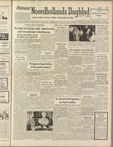 Nieuw Noordhollandsch Dagblad : voor Alkmaar en omgeving 1949-08-27