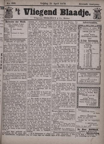 Vliegend blaadje : nieuws- en advertentiebode voor Den Helder 1879-04-25