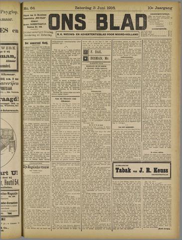 Ons Blad : katholiek nieuwsblad voor N-H 1916-06-03