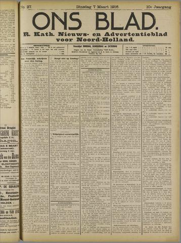 Ons Blad : katholiek nieuwsblad voor N-H 1916-03-07