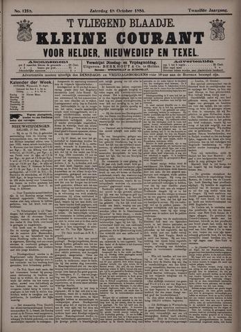 Vliegend blaadje : nieuws- en advertentiebode voor Den Helder 1884-10-18