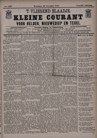 Vliegend blaadje : nieuws- en advertentiebode voor Den Helder 1884-11-26