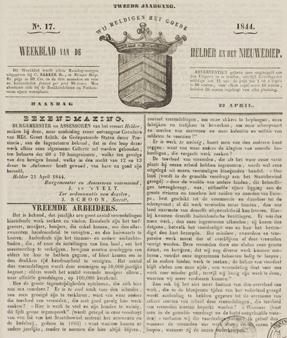 Weekblad van Den Helder en het Nieuwediep 1844-04-22