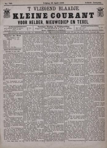 Vliegend blaadje : nieuws- en advertentiebode voor Den Helder 1880-04-16