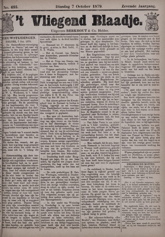 Vliegend blaadje : nieuws- en advertentiebode voor Den Helder 1879-10-07