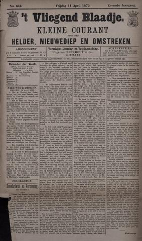 Vliegend blaadje : nieuws- en advertentiebode voor Den Helder 1879-04-11