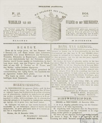 Weekblad van Den Helder en het Nieuwediep 1854-12-18