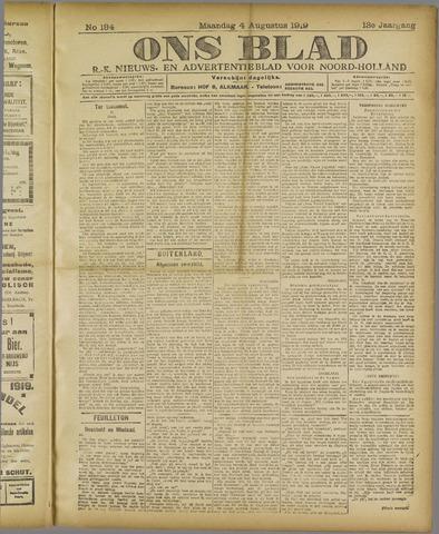 Ons Blad : katholiek nieuwsblad voor N-H 1919-08-04