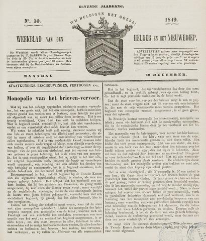 Weekblad van Den Helder en het Nieuwediep 1849-12-10