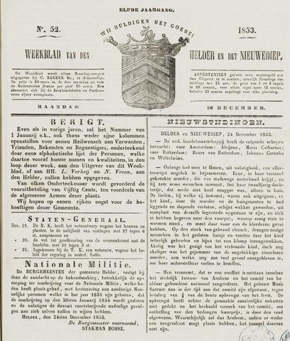 Weekblad van Den Helder en het Nieuwediep 1853-12-26