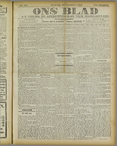 Ons Blad : katholiek nieuwsblad voor N-H 1919-12-20