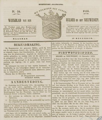 Weekblad van Den Helder en het Nieuwediep 1855-12-17