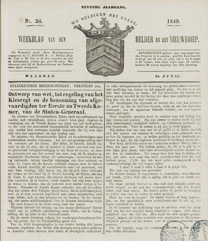 Weekblad van Den Helder en het Nieuwediep 1849-06-25