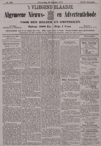 Vliegend blaadje : nieuws- en advertentiebode voor Den Helder 1875-01-20
