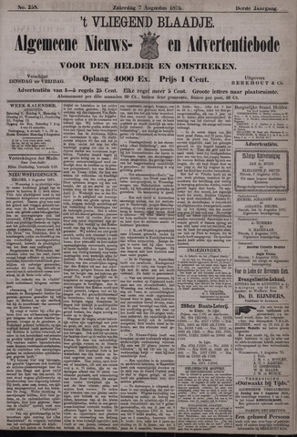 Vliegend blaadje : nieuws- en advertentiebode voor Den Helder 1875-08-07