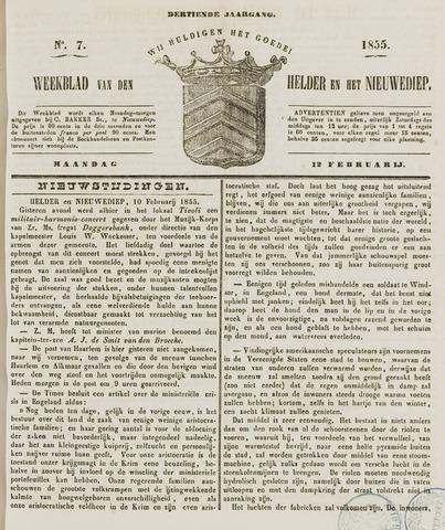 Weekblad van Den Helder en het Nieuwediep 1855-02-12