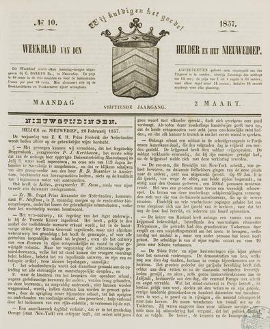 Weekblad van Den Helder en het Nieuwediep 1857-03-02