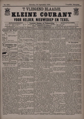 Vliegend blaadje : nieuws- en advertentiebode voor Den Helder 1884-09-20