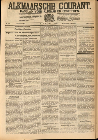Alkmaarsche Courant 1934-02-01