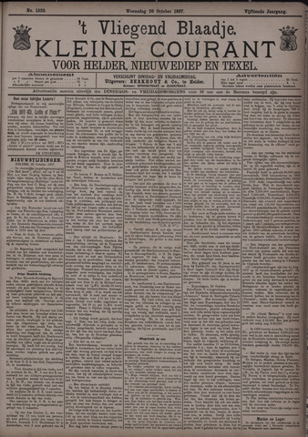 Vliegend blaadje : nieuws- en advertentiebode voor Den Helder 1887-10-26