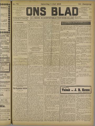 Ons Blad : katholiek nieuwsblad voor N-H 1916-07-01
