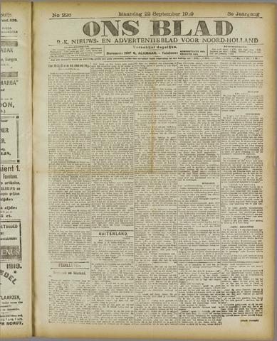 Ons Blad : katholiek nieuwsblad voor N-H 1919-09-22